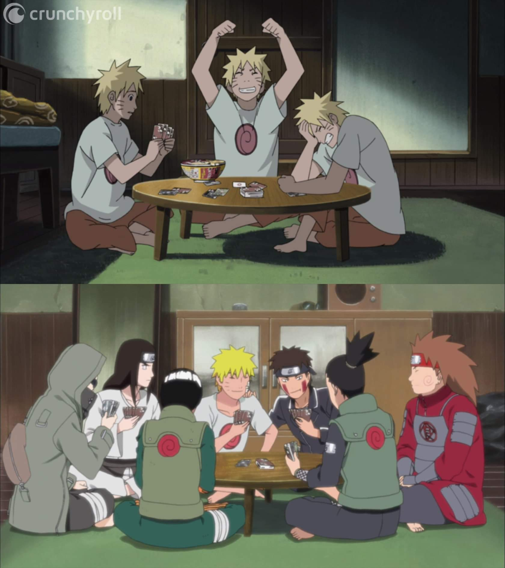 ( clones / real friends) Scene 1- Naruto with clones of himself ; Scene 2 - Naruto with real friends